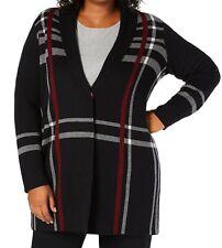Charter Club Women's Sweater Black Red Size 3X Plus Plaid Cardigan $99 #448