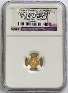 1909 GOLD ALASKA-YUKON WASHINGTON PACIFIC GOLD 1/2 DWT NGC UNCIRCULATED DETAILS