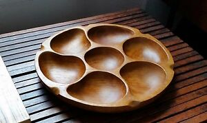 Mid Century Modernist Hand Carved Teak Round Divided Tray- ACTION