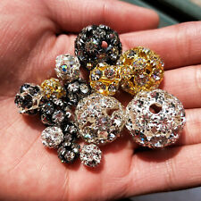 20Pcs Random Mixed Round Crystal Ball Charms Spacer Bead Rondelle Beads 6-20mm