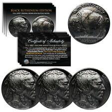 BUFFALO NICKELS Indian Head Full Date Genuine Coins - BLACK RUTHENIUM (Lot of 3)