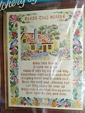 The Bless his House 1975 Stitchery by Julie Eisenhower Paragon 14 X 16 inch New