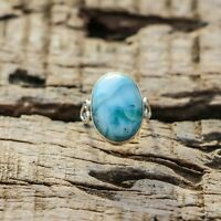 CARIBBEAN LARIMAR NATURAL GEMSTONE RING 925 STERLING SILVER JEWELRY RING 4 TO 12