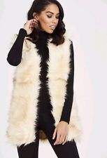 UK Women Ladies Apricot Winter Faux Fur Vest Gilet  Waistcoat Jacket Outwear