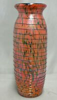 FENTON ART GLASS HAND MADE ORANGE VASE WITH LABEL