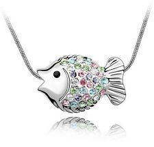 18K GOLD GP Multi Coloured Made With SWAROVSKI Elements CRYSTAL Fish NECKLACE