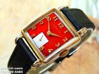 Vintage 1950 HAMILTON DEWITT, Stunning Red Dial, Serviced, One Year warranty