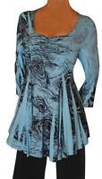 RB@ Funfash Plus Size Blue Peacock Rhinestones Top Blouse Shirt New Made in USA