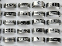 24/60Pcs Wholesale Men's Punk Stainless Steel Mutil-Design Band Ring Jewellery