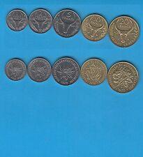 Madagascar  Série de 5 monnaies 1, 2, 5 10 et 20 francs. 1965, 1966,1968 et 1970