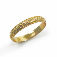 Moroccan 14k yellow gold floral ring band (gr-9154)  Bride & Groom Set, handmade