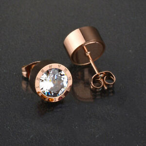Men'S Wowen Rose Gold Round White Crystal Anti Allergic Stainless Steel Earrings