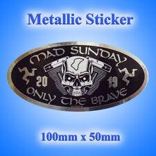 Isle of Man Mad Sunday Oval Black Metallic Sticker 100mm x 50mm