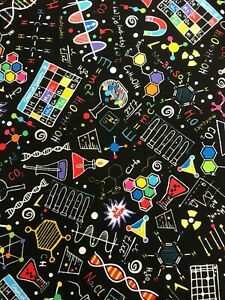 Timeless Treasures BRIGHT SCIENCE DOODLES  Fabric 100% COTTON  per 1/4 metre