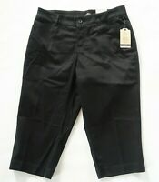 NEW St Johns Bay Womens Stretch Cotton Easy Fit Solid Black Capri Pants Size 10P