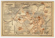 1913 ORIGINAL ANTIQUE CITY MAP OF OVIEDO / ASTURIAS / SPAIN