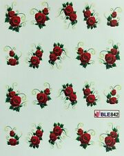 Nail Art Water Decals Red Roses Flowers BLE842