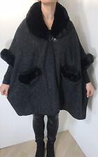 Poncho Cape Black Faux Fur Collar Cuffs & Pockets Soft Plus Size 20-24 NEW