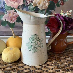 Vintage Decorative Hand Painted Jug Pail Garden Interior Planter - Cream Green