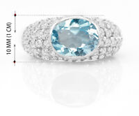 925 Sterling Silver Ring Oval Blue Topaz Natural Cocktail Size 5 6 7 8 9 10 11