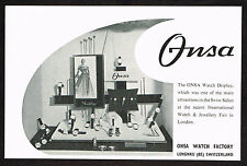 1950's Old Vintage 1956 Onsa Swiss Watch Co. Display Photo Print AD