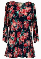 DAISY QUEEN Womens Tunic Tops with 3/4 Sleeves Covered Roses in Size S-M-L-XL