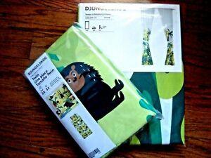 NEW DJUNGELSKOG Set Duvet Cover & matching Curtains Green Kids Jungle pattern