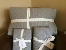 POTTERY BARN Belgian Linen Diamond KING Quilt & 2 EURO Shams NEW- Flagstone Gray