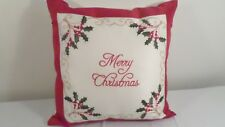 Embroidered Red & White Merry Christmas Throw Pillow Holiday Decor