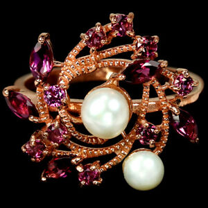 NATURAL AAA WHITE PEARL & RHODOLITE GARNET STERLING 925 SILVER RING SIZE 8.75