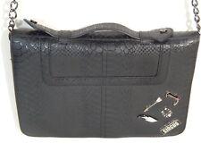 Circus Black Faux Snake Skin Pattern Purse Handbag Chain Shoulder Strap