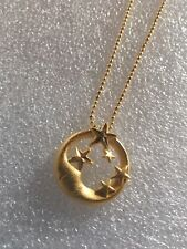 18K Gold Filled- Matte Smile Moon & Stars Circle NECKLACE-N50033