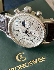 Chronoswiss CH7523 L Lunar Chronograph Full Set 38mm Silver Dial