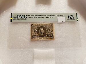 5 Cents Second Issue Fractional Currency Fr#1234 PMG 63 Choice Uncirculated