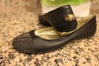 Jimmy Choo Waine Black Leather SILVER Studded Cap Toe Ballet Flats37.5/ 7.5 (900