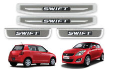 SCUFF PLATE LED DOOR STEP STAINLESS STEEL CHROME+GREY FOR SUZUKI SWIFT 2012-17