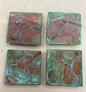 set of 4 Soleri bronze tiles, Cosanti - Arcosanti