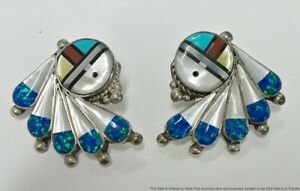 Native American Zuni Signed Mosaic Inlay MOP Opal Turquoise Coral Onyx Earrings