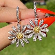 Fashion Zircon Crystal Daisy Flower Earrings Hoop Drop Dangle Women Jewelry Gift