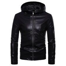 Men's Western style Hooded Faux Leather Jacket Outwear Slim Fit Motorcycle New L