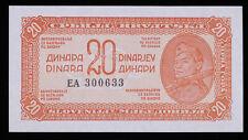 1944 YUGOSLAVIA 20 DINARA PAPER MONEY NOTE UNCIRCULATED #FM200122