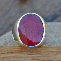 Natural Ruby Gemstone 925 Sterling Silver Artisan Handmade Men's Ring