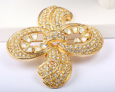 Large Vintage Gold Tone and Rhinestone Brooch Signed Corocraft, 1950s