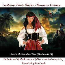 Caribbean Pirate Fancy Dress Costume Adult Wench Dress Skirt w Bandana,top gift*