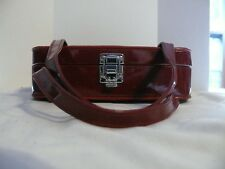 "Make-up Bag - Red -Vintage??? - Used -  10"" x 9"" x 2 1/2"" with a 5"" Strap Drop"