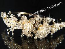 Bridal Faux Pearls made with Swarovski Crystal Gold  Plated Headband Tiara T018G