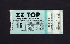 Original 1986 Zz Top concert ticket stub Casper Wyoming Afterburner Tour