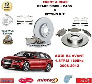FOR AUDI A4 1.8 TFSI Estate 160 BHP FRONT & REAR BRAKE DISCS PADS + FITTING KIT