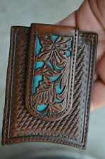 Nocona Men Money Clip Wallet Brown Credit Card Floral Brown Blue Leather Tooled