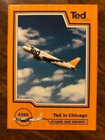 """United Airlines TED card Chicago #A320 O'Hare 2.5"""" x 3.5"""" VTG"""